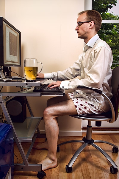 Working from home.  Just like going into the office, but without the pesky requirement of pants