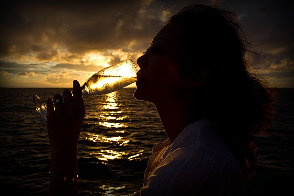 Danni and her glass of bubbly sunshine on our private sunset cruise (thanks Robert!!)