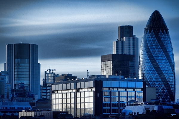 Long exposure shot of the Gherkin.