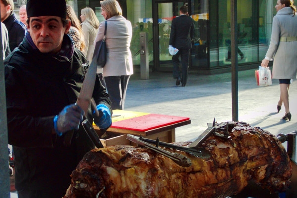 The market day at our office, gotta love a hog roast!