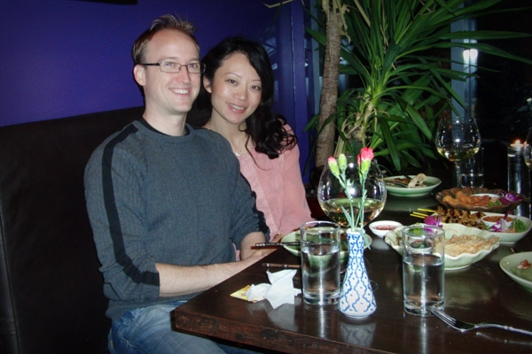 Danni and I at our favourite restaurant on our One-Month-Aversary