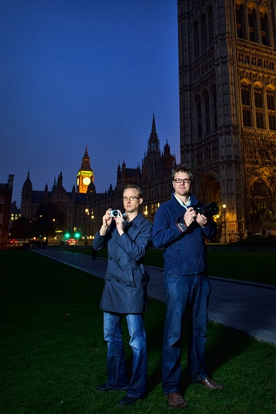 Dennis and I back to back, shooting parliament.